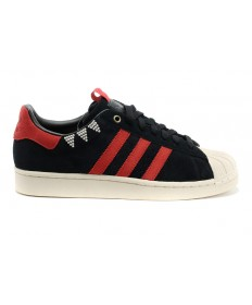 Adidas superestrella de la música para hombre de los zapatos rojos negros/siena