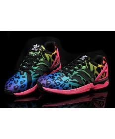 Adidas ZX Flux zapatos de leopardo azul-verde/rosa