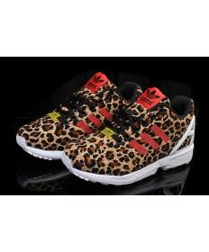 Adidas ZX Flux para mujer de los zapatos de leopardo/rojo
