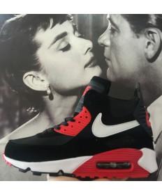 Nike Air Max 90 Hightop rojo hombre negro Zapatos de la zapatillas