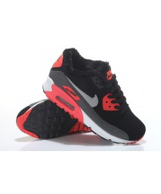 Nike Air Max 90 instructores piel de las zapatillas de deporte negro-rojo-plata