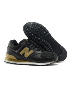 New Balance 574 de los hombre negros, zapatillas de deporte del oro