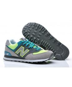 New Balance 574 Gris, hombre, Volt + turquesa formadores zapatillas de deporte