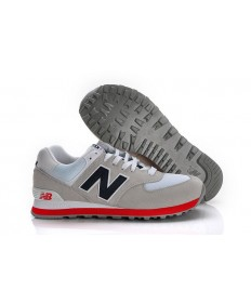 New Balance 574 gris, zapatillas de deporte los vrmada + rojo para mujer