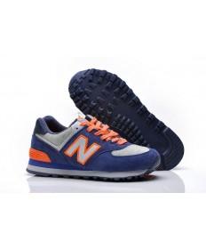 New Balance 574 azul, zapatillas de deporte de la naranja para mujer