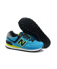 New Balance 574 de la turquesa con los zapatos formadores Negro y verde de neón para mujer