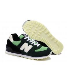 New Balance 574 verde, aceituna + blanco + zapatillas deportivas negras para mujer