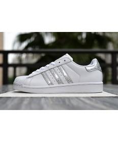 Adidas 80 zapatillas de deporte de la superestrella formadores de color blanco plateado