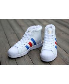 formadores de Adidas Superstar high top blanco de la piel/dodger azul/rojo