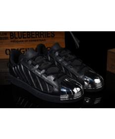 Adidas Superstar zapatos formadores negro/plata