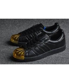 Adidas Superstar 80s puntera metálica de formadores negro/oro zapatillas de deporte