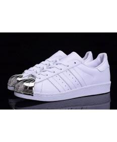 Dedo del pie Adidas Superstar 80 metales zapatos blanco/plata formadores