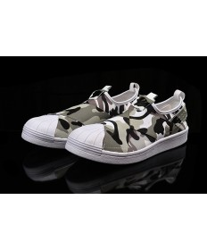 Adidas Superstar SLIP ON los zapatos de camuflaje blanco/gris