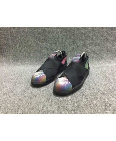 Adidas Superstar SLIP ON los zapatos de color negro/del arco iris