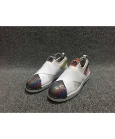 Adidas Superstar SLIP ON blanca/de color del arco iris formadores zapatos
