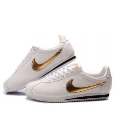 Nike Classic Cortez de piel para hombre 09 zapatos de oro blanco Negro