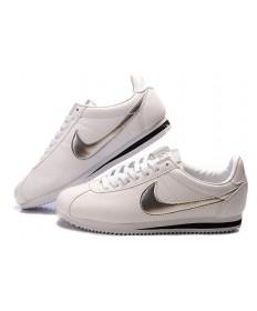 Nike Classic Cortez Cuero 09 zapatos para hombre formadores de plata blanco negro