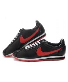 Nike Classic Cortez Cuero 09 zapatillas de deporte Rojo Negro para las mujeres