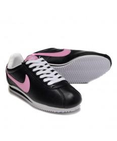 Nike Classic Cortez Cuero 09 formadores zapatillas Negro Rosa para mujeres