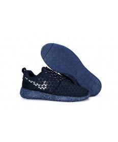 Nike Roshe Run Triángulos Midnightazul/blanco para los zapatos para hombre de formadores