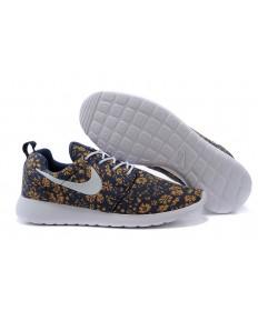 impresión Nike Roshe Run Sandy marrón/flor/negro/blanco formadores zapatillas de deporte