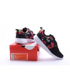 Nike Roshe Run Negro/zapatos de impresión de la flor roja