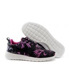 Nike Roshe Run negro/púrpura formadores zapatillas de deporte