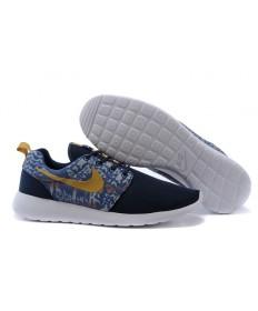 Nike Roshe Run zapatos formadores de medianoche azul/oro/beige para hombre