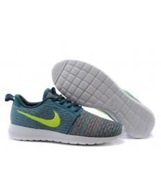 Nike Flyknit Roshe Run zapatos a hombretes oscuro cian/amarillo