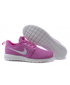 Nike Flyknit Roshe Run zapatos formadores rosa/blanco para las mujeres