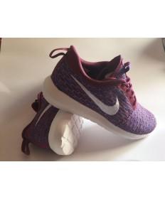 Nike Roshe Run Flyknit las zapatillas de deporte marrón marrón/profunda hombrete azul/blanco para las mujeres
