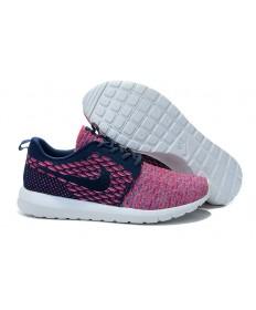 zapatos Nike Flyknit Roshe Run Midnightazul/Negro/Rojo para mujeres
