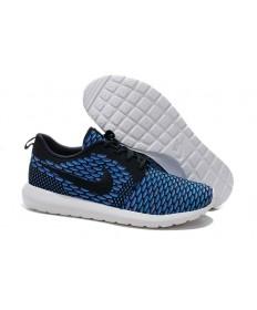 Nike para hombre Run Roshe Flyknit a hombretes fluorescentes azules/formadores Negro