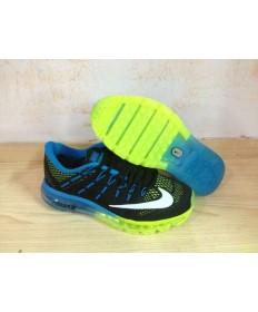 Nike Air Max 2016 zapatillas Negro/azul de los Dodgers/blanco/verde fluorescente por un hombre