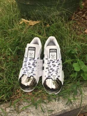 Adidas Superstar 80 metales formadores del dedo del pie zapatos blanco/negro