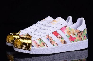 Adidas Superstar 80s puntera metálica de formadores Modelo blanco/oro/de la flor