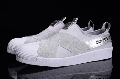 Adidas Superstar SLIP ON blanco plata/gris zapatos formadores