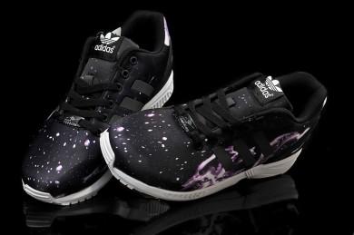 cielo de la estrella de Adidas ZX Flux negro/zapatillas de deporte púrpuras para hombre