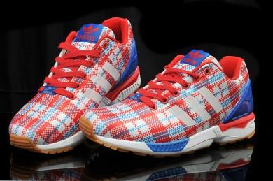 Adidas ZX FLUX cheques rojo/azul para hombre Zapatos de la zapatillas