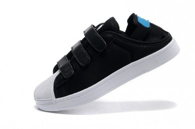 Adidas Superstar Summer Breathe para hombre negro/celeste/zapatillas blancas
