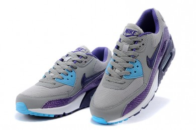zapatos Nike Air Max 90 para niños de color gris-azul-púrpura