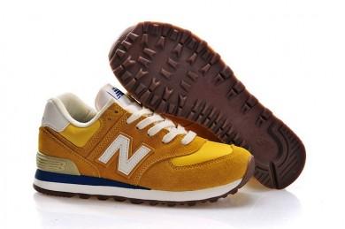 New Balance 574 Zapatos de la zapatillas amarillo, blanco + Teal hombre de