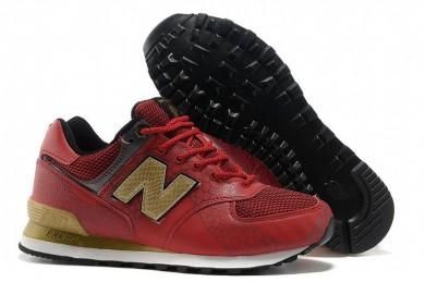 New Balance 574 zapatillas de deporte formadores rojo, oro para los hombre de