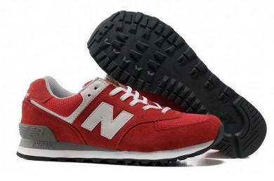 New Balance 574 hombre de las zapatillas de deporte rojo, gris