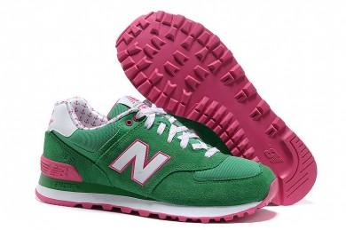 New Balance 574 verde, blanco + rosa para las zapatillas de deporte para mujer