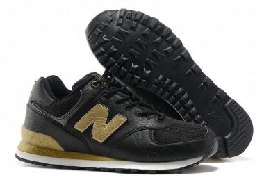 New Balance 574 Negro, Oro para trainers para mujer
