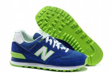New Balance 574 azul, verde + blanco zapatos de formadores para mujer