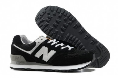 New Balance 574 Negro, Blanco zapatos para mujer