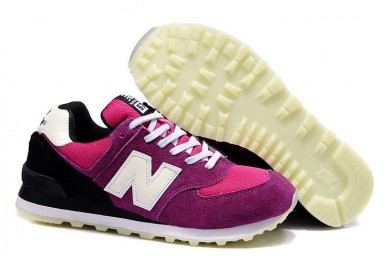 New Balance 574 de color rosa, zapatos morado + blancas + negro para mujer