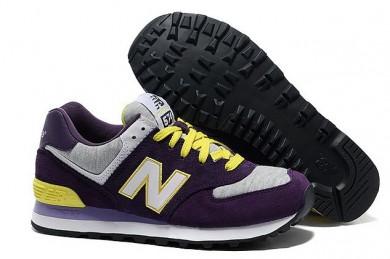 New Balance 574 morado, blanco + zapatos formadores amarillas para mujer